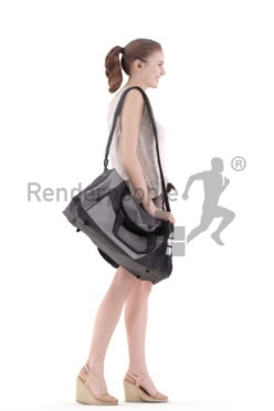 3d people casual, white 3d woman standing and carrying sportsbag