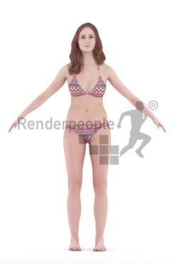 Rigged 3D People model for Maya and Cinema 4D – european woman in swimm suits