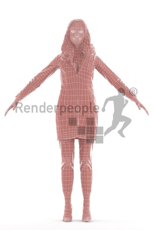Rigged human 3D model by Renderpeople – european woman, outdoor