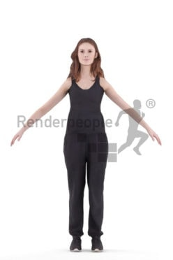 Rigged human 3D model by Renderpeople – european woman in sports outfit
