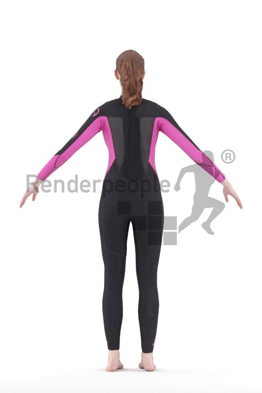 Rigged and retopologized 3D People model – white woman in diving suit