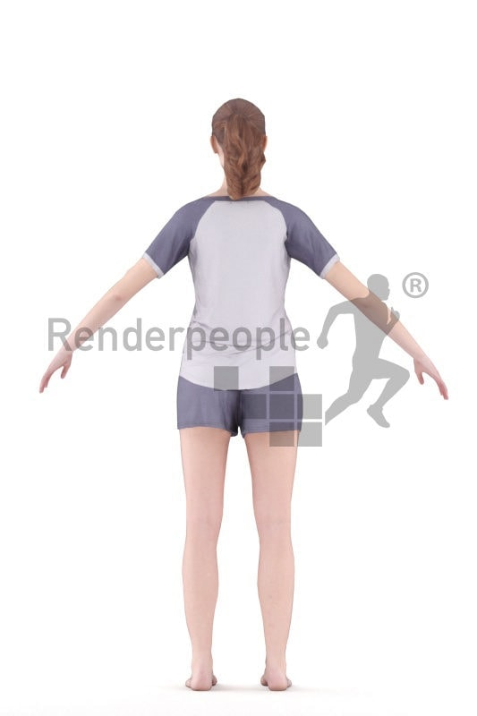 3d people sleepwear, white 3d woman rigged