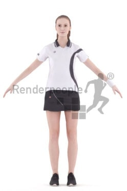 Rigged 3D People model for Maya and 3ds Max – white woman in tennis dress, sports