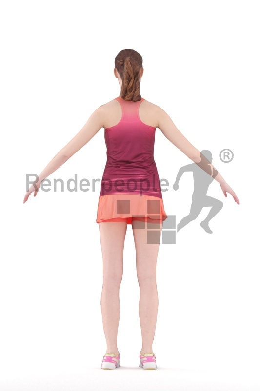 Rigged and retopologized 3D People model – white woman in sports dress
