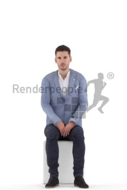 Animated 3D People model for 3ds Max and Maya – european male in business look, sitting