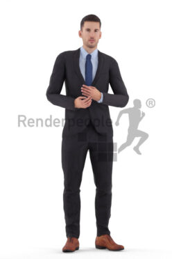 Animated 3D People model for 3ds Max and Maya – european male in business/event