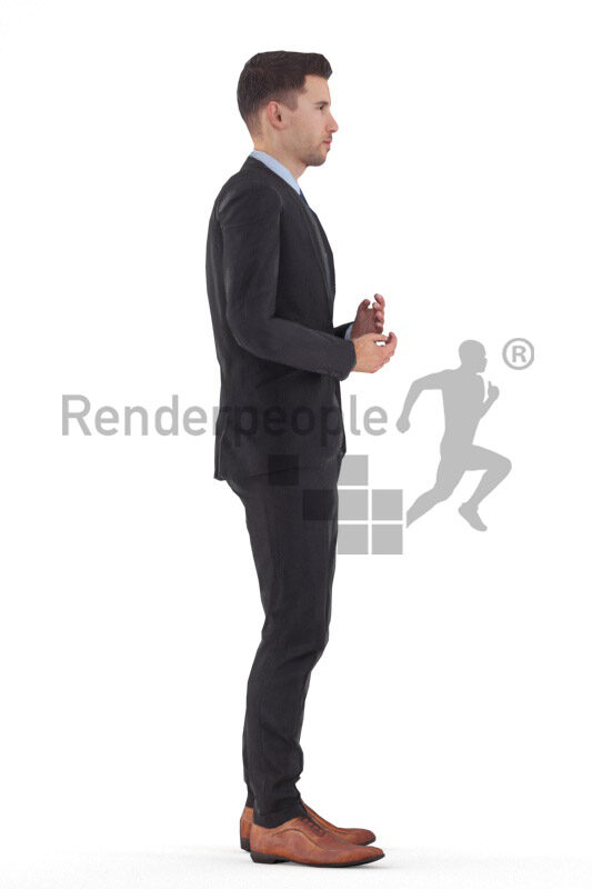 Animated 3D People model for 3ds Max and Maya – european male in business/event suit