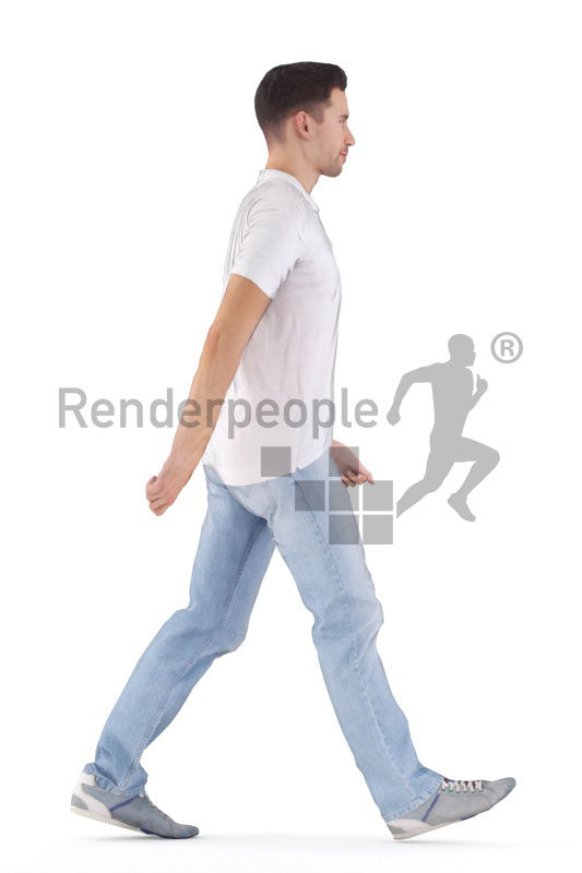 Animated 3D People model for realtime, VR and AR – european man in daily shirt, walking