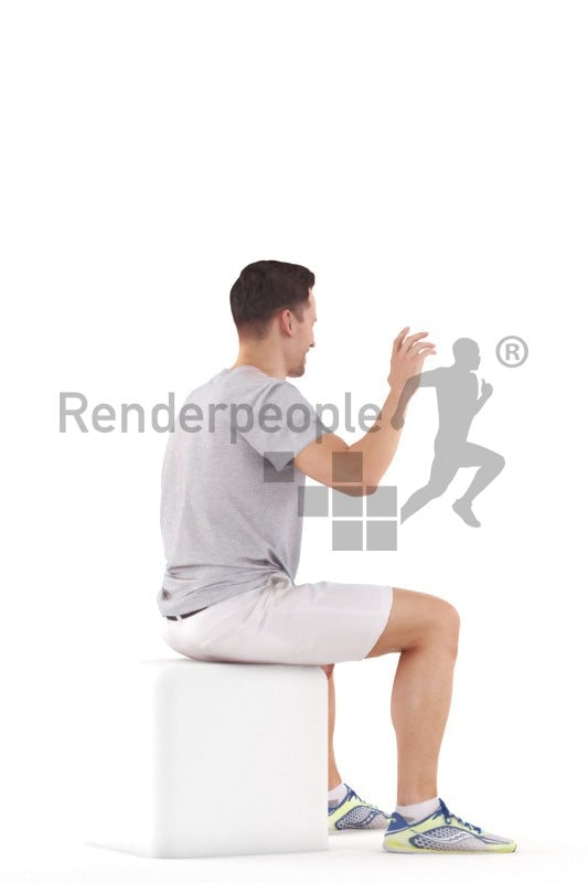 3d people casual, white 3d man sitting and waving
