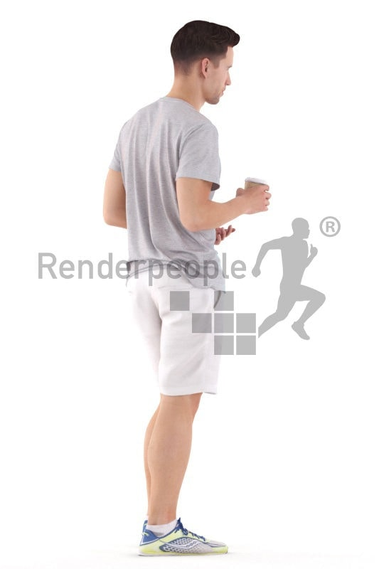 3d people casual, white 3d man standing and talking