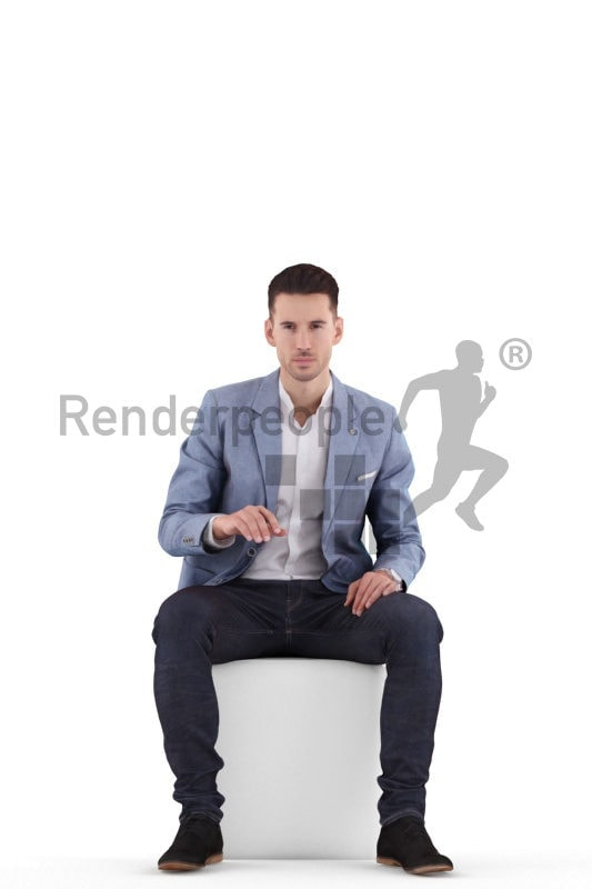 3d people business, white 3d man sitting and working on pc