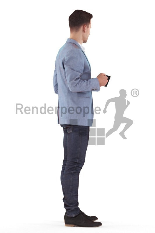 3d people business, white 3d man standing and holding mug