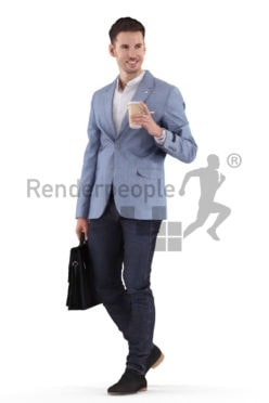3D People model for 3ds Max and Sketch Up – white male in office clothing, walking while carrying a business bag and a coffee to go cup, smiling