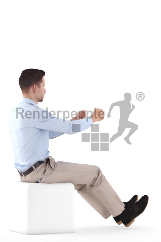 Posed 3D People model for renderings – man in business look, driving the car
