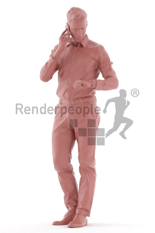 Scanned human 3D model by Renderpeople – european male in business shirt, standing, calling and checking the time