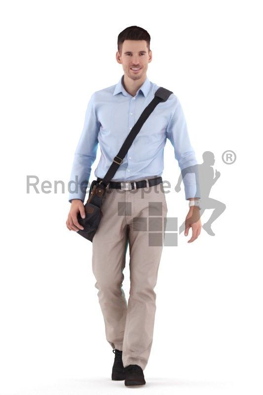 Scanned 3D People model for visualization – european man in business look, walking with bag