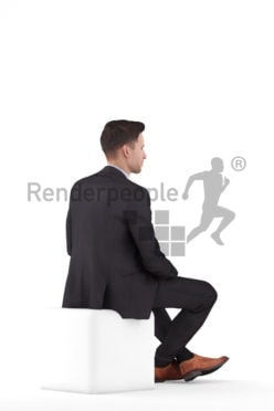 Photorealistic 3D People model by Renderpeople – white man sitting and listening in office look