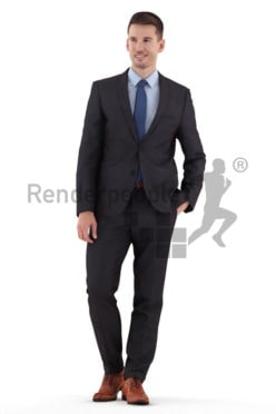 Photorealistic 3D People model by Renderpeople – white man walking in suit, communicating