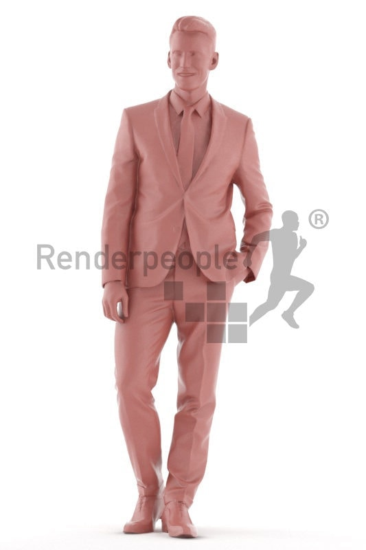 Photorealistic 3D People model by Renderpeople – white man walking in suit, communicating