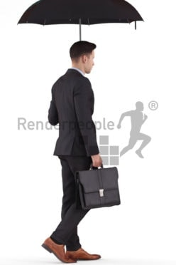3D People model for 3ds Max and Cinema 4D – white male in business look, walking outside with business bag and umbrella
