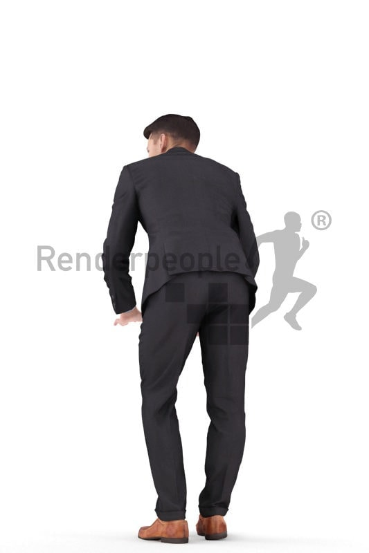 Posed 3D People model by Renderpeople – white man in businesssuit, leaning on the table and talking