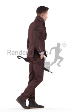 Scanned 3D People model for visualization – white man in business clothing, walking outside, holding an umbrella