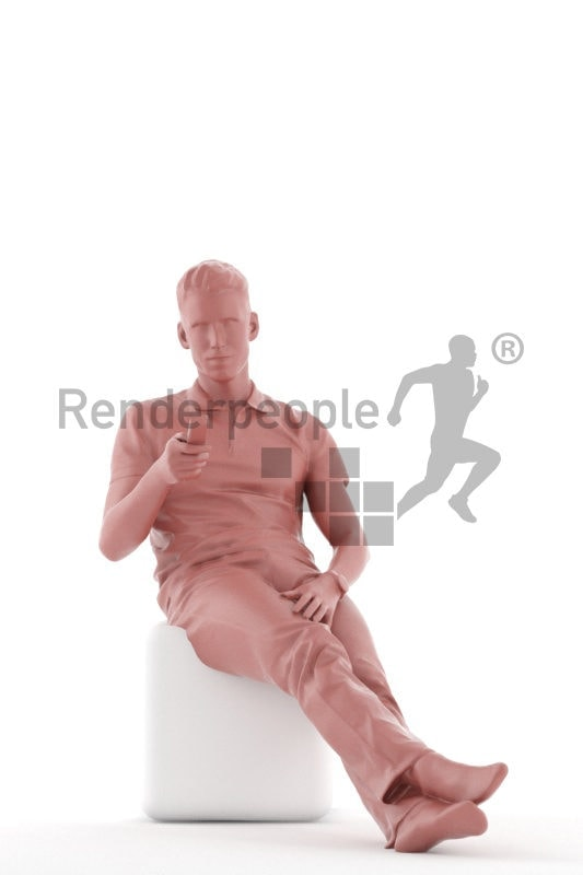 Scanned human 3D model by Renderpeople – european man in daily shirt, chilling and using the remote controller, watching tv