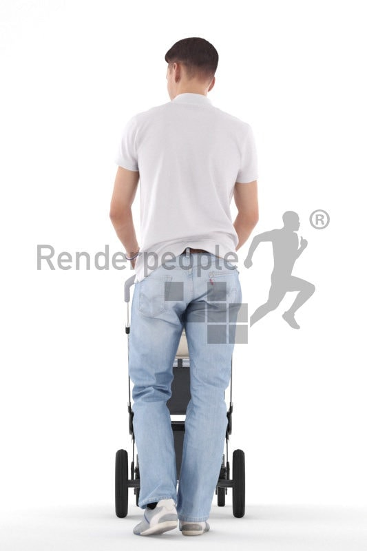 Posed 3D People model for visualization –white man walking with a buggy
