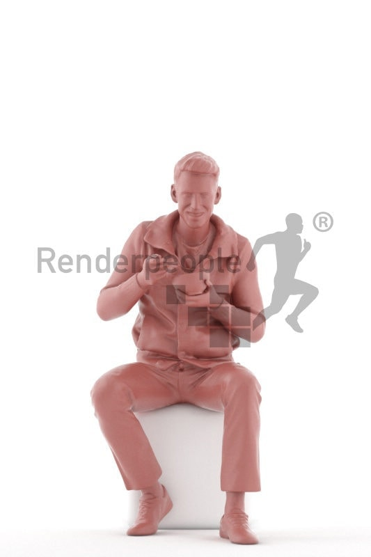 Realistic 3D People model by Renderpeople – european male in daily look, eating cornflakes/soup out of a bowl