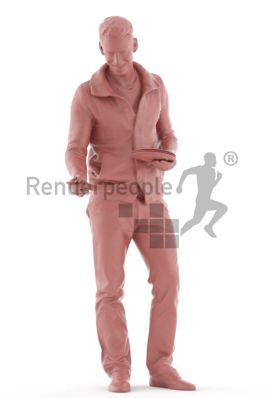 Posed 3D People model for visualization – european man in casual outfit, preparing the table