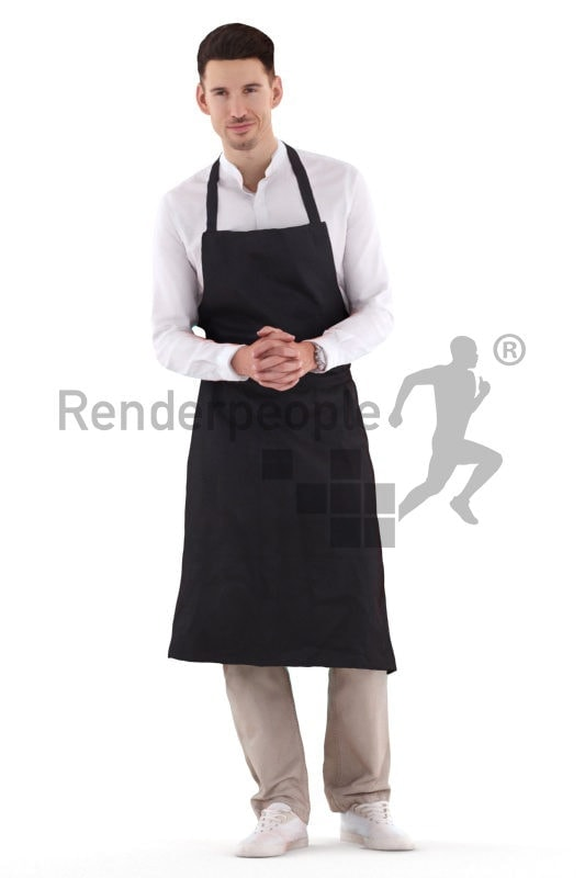 Scanned 3D People model for visualization – european male waiter, standing and listening