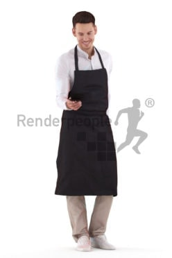 Posed 3D People model for visualization – white man in waiter outfit, serving an expresso