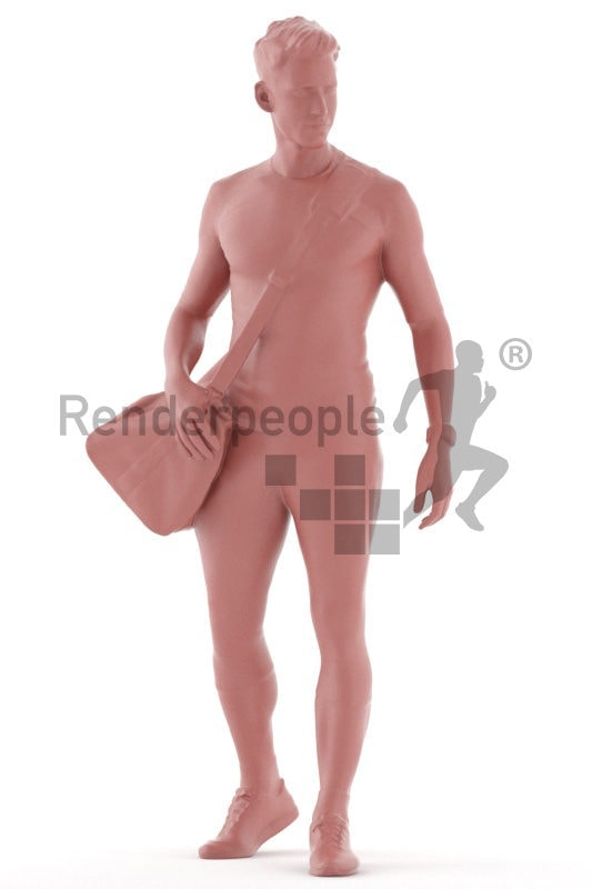 3D People model for 3ds Max and Maya – white male in sports clothing and sportsbag, walking