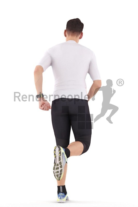 Posed 3D People model by Renderpeople – white man in sportswear, jogging