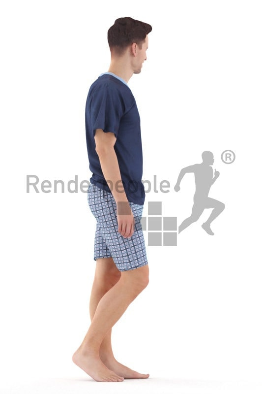 Posed 3D People model for visualization – european male in sleepwear, walking