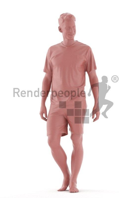 Posed 3D People model for visualization – european male in sleepwear, walking