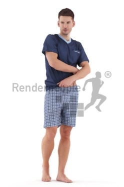 3D People model for 3ds Max and Maya – european man in sleepwear, pulling off his shirt