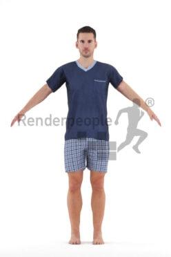 Rigged human 3D model by Renderpeople – european man in shorty pyjama