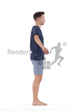 Rigged human 3D model by Renderpeople – european man in shorty pyjama