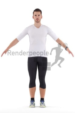 Rigged and retopologized 3D People model – white man in sports wear