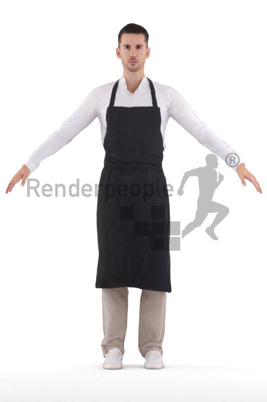 Rigged and retopologized 3D People model – white man in waiters outfit