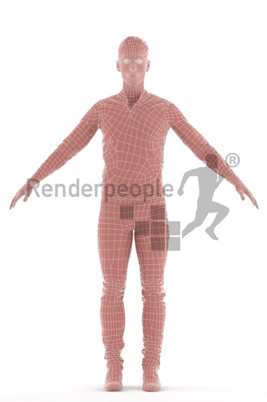 3d people smart casual, 3d white man rigged