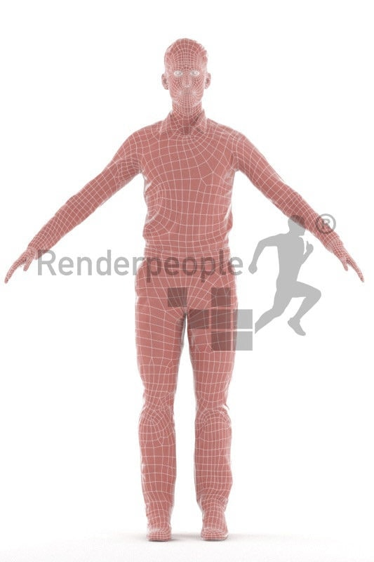 Rigged 3D People model by Renderpeople- european man in office clothes
