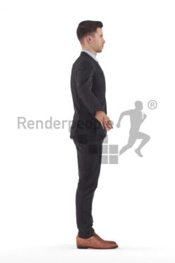 Rigged 3D People model for Maya and Cinema 4D – european man in business suit