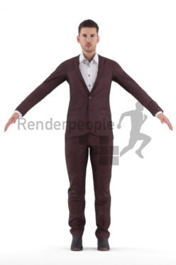 Rigged 3D People model for Maya and 3ds Max – european man in business suit