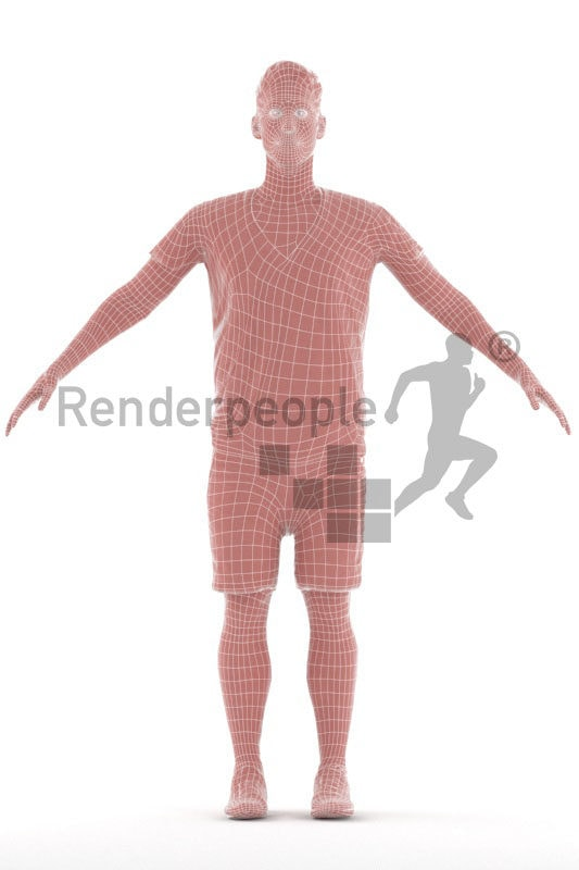 Rigged human 3D model by Renderpeople – european male in a casual summer style