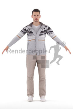 Rigged 3D People model for Maya and Cinema 4D – white man in casual winter clothes