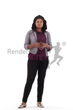 Posed 3D People model for renderings – indian woman in smart casual look