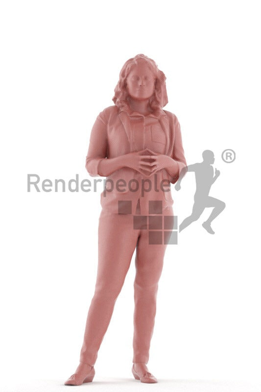Posed 3D People model for renderings – indian woman in smart casual look