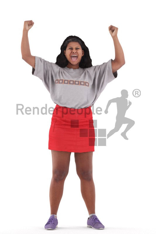 3D People model for 3ds Max and Sketch Up – indian woman in casual look, wearing a red skirt, cheering